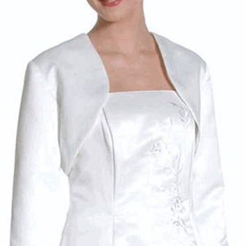 CLEARANCE - Poly Satin Formal White Long Sleeve Bolero Jacket Wedding/Bridal