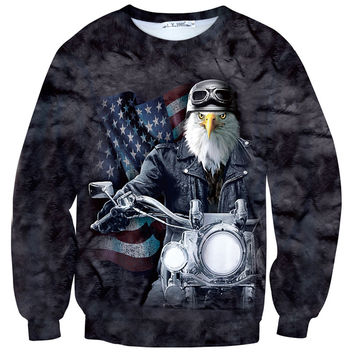 Patriotic American Bald Eagle on a Motorcycle All Over Print Unisex Pullover Sweater