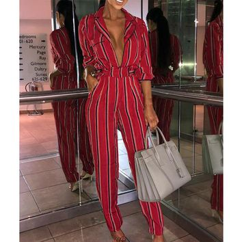 Black Red Striped Rompers Womens One Piece Jumpsuit Elegant Autumn Clothes Long Sleeve Sexy Deep V Neck Slim Tunic Streetwear