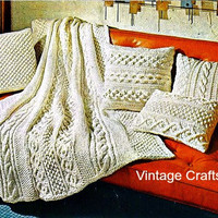 "1960s Vintage KNIT Pattern - Aran Afghan Blanket + 4 Pillows Pattern, 49"" X 65"" -retro blanket throw coverlet bedspead gift- Direct from USA"