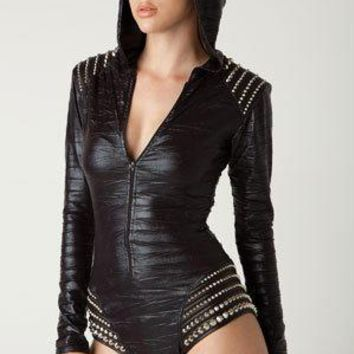 Hooded Trashbag Romper Bodysuit With Leather Studded Shoulder And Hip