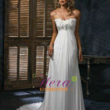 Slim A line Strapless Cheap  Beach Wedding Dresses