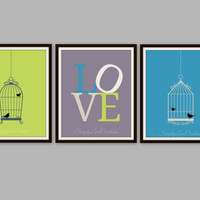 LOVE Colorful Bird Cage Artwork Set of 3 Trio Prints // Home Decor // Child's Nursery/Room Picture