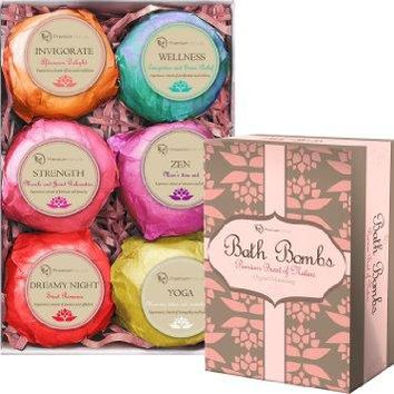Premium Nature Bath Bombs Lush Gift Set - 6 Organic Bath Fizzies