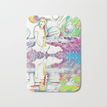 Girl in Space Pastel Dream Bath Mat by Zurine