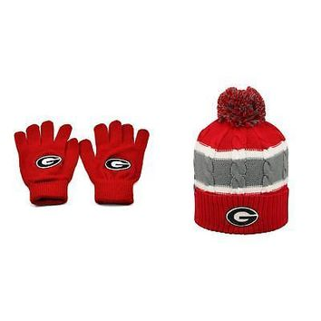 f7c5327f36e Licensed NCAA Georgia Bulldogs Knit Gloves And Windy Beanie Hat 2 Pack  33138 KO 19 1