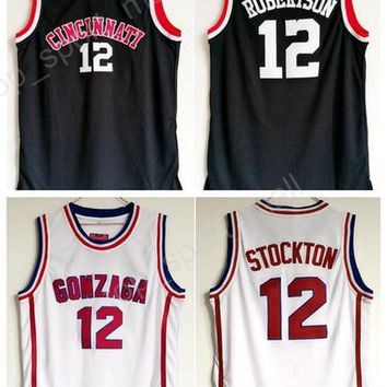 2017 College 12 Oscar Robertson Jersey Cincinnati Bearcats Basketball Gonzaga Bulldogs 12 John Stockton Jerseys All Stitched Black White