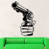 Wall Stickers Vinyl Decal Revolver Gun Gangster Mafia Weapons (ig1523)