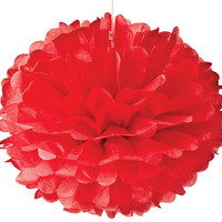 Large Red Tissue Paper Pom Pom Pouf