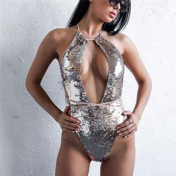 Sexy Womens Sequin One-piece Swimsuit Monokini 2018 Lady Silver Lace-Up Deep V Neck Bikini Summer Brazilian Sparkle Bathing Suit