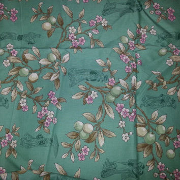 1 yd Green floral  fabric by the yard quilt fabric cotton fabric
