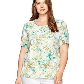 Alfred Dunner Womens Plus Size Watercolor Print Knit Top Accordion Fabric Detail