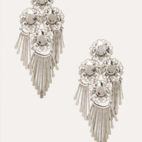 bebe Womens Crystal & Fringe Earrings Silver