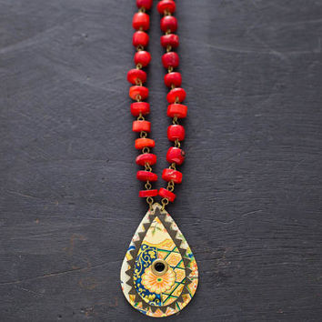 Leather and Vintage Tin Tassel Teardrop Paisley Necklace with Red Coral Chain, Paisley Necklace, Coral Necklace, Hippie Necklace