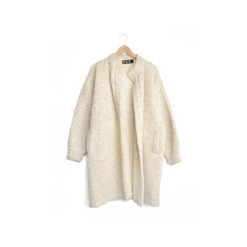 Vintage Oversized Wool Mohair Sweater Coat in Flecked Ivory - women's medium