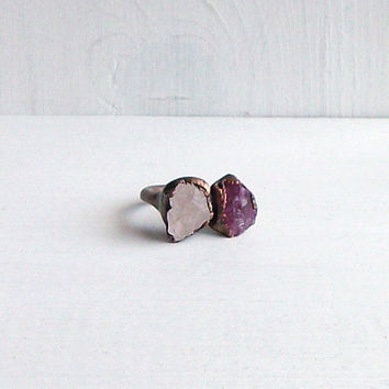 Gemstone Ring Cocktail Ring Beryl Ring Tourmaline Ring Morganite Ring Copper Gem Ring Blush Peach Mineral Stone Ring Artisan Raw Organic