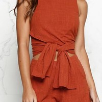 Pure Color Loose Bandage Tank Top with Shorts Two Pieces Set