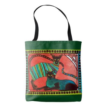 Legend of the Siamese - Whimsical Cat Art Tote Bag