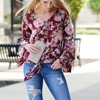 * Straight To The Point Floral Tie Front Blouse : Burgundy