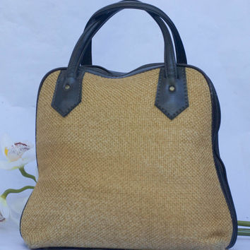 Vintage 1960's Burlap & Faux Leather Trim Bowling Bag Style Overnight Purse.