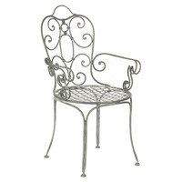 Garden Metal Scroll Armchair, Gray, Arm Chairs