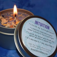 INTUITION Candle - Use with Divination Tools like Tarot or Oracle Cards - Third Eye Chakra Candle
