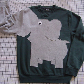 Dark green Elephant sweatshirt shirt jumper with sewn in trunk sleeve unisex small