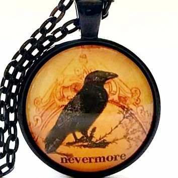 Raven Necklace | Nevermore | Glass Necklace | Halloween Pendant | Poe Quote