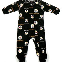 Pittsburgh Steelers Infant Coverall NFL Baby Raglan Zip Footed Sleeper Pajamas