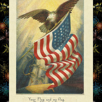 "Celebrate the Fourth of July and Send this great Card ""Happy July 4th""  Vintage look Postcard Stationary Standard Size Set of 12 Card"