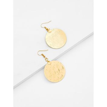 Round Flake Drop Earrings Gold