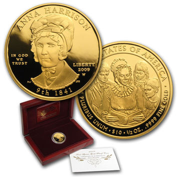 2009-W $10 First Spouse PROOF Gold Coin 1/2 oz Anna Harrison w Box & Certificate