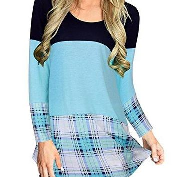 Qingre Womens Back Lace Color Block Tops Long Sleeve TShirts Blouses with Plaid Hem Tunic