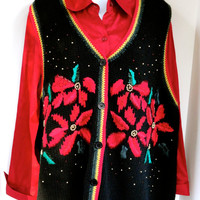 Tacky Christmas Sweater Vest with Poinsettias Extra Large Unisex