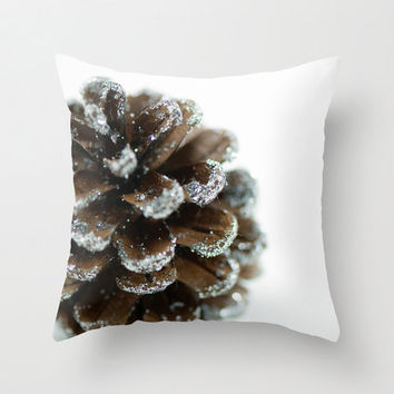 "Brown Christmas Pillow Cover 18"" Decorative Throw Cushion Cover Holiday Pine Cone White Brown Festive Decor Handmade Cotton Zippered Cover"