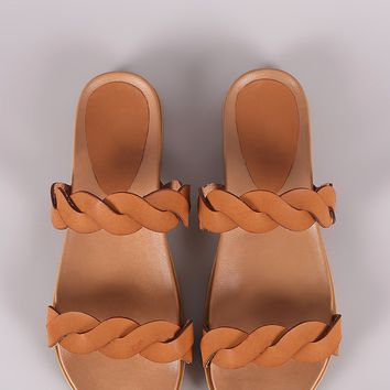 Bamboo Twisted Band Open Toe Slide Sandal