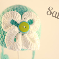 SALE Baby crochet  sky blue hat with big  white flower and button, photo prop, newborn photography,0-3 months