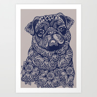 MANDALA OF PUG Art Print by Huebucket