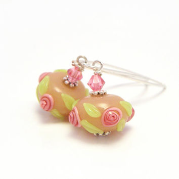 FREE SHIPPING - Peach Pink Earrings - Lampwork Earrings, Floral Earrings, Rose Earrings - 'Sorbet'