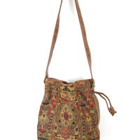Bucket Bag purse Brown Gitano 1980s Vegan Bucket Bag Preppy Southwestern Boho Chic Tapesty bag Drawstring Hipster Purse