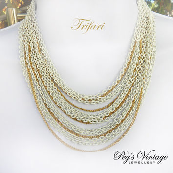 Vintage Crown Trifari Necklace//White And Gold Multi Chain Necklace