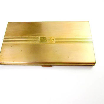 Cigarette Case Gold Metal Signed Majestic With Cloth Pouch Vintage Collectible Gift Item 2420