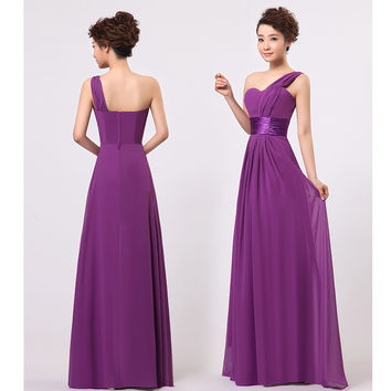 Stock One Shoulder Chiffon Formal Wedding Party Dresses Long Bridesmaid Dress Red Black Purple