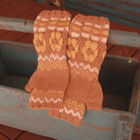 Knit fingerless gloves with flowers, wool arm warmers / wrist warmers in brown, yellow and white