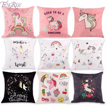 FENGRISE 1PC Unicorn Cushion Cover DIY Unicorn Party Favors Cotton Linen Pillow Case Baby shower Favors Kids Birthday Gifts