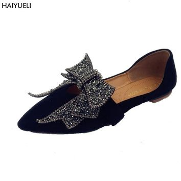 Ladies Shoes Fashion Rhinestone Bow Women Flats Spring Slip On Loafers Women Pointed Toe Flat Shoes Waman Black/Brown Flats