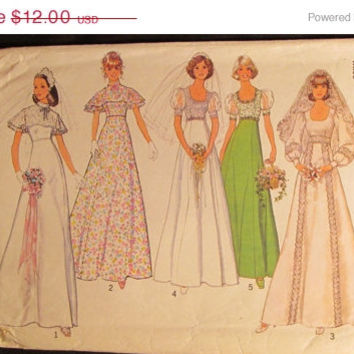 SALE Uncut/Cut 1970's Simplicity Sewing Pattern, 6940! Size 16/Medium/Large/Women's/Misses/ Wedding Gowns/Bridesmaid Dresses/Formal Prom