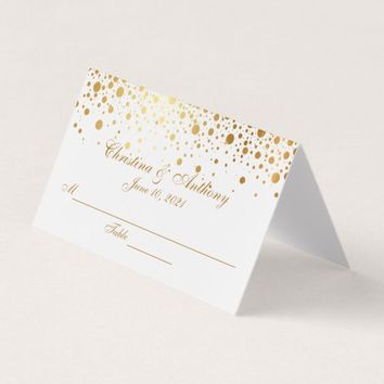 Gold Confetti Dots Wedding Reception Place Card