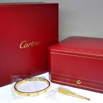 Cartier Diamond Love Bracelet Size 17 18k Gold Box/Certificate/Screwdriver NEW