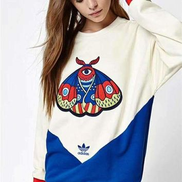 ONETOW Adidas' Women Personality Sport Casual Multicolor Butterfly Embroidery Long Sleeve Sweater Pullover Sweatshirt Tops
